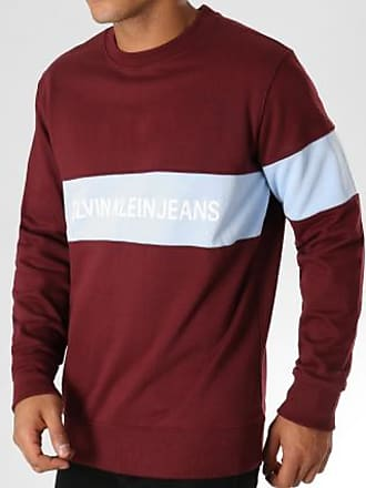 Calvin Bordeaux Bleu Institutional 9510 Clair Sweat Stripe Klein Crewneck rwq6Ypr