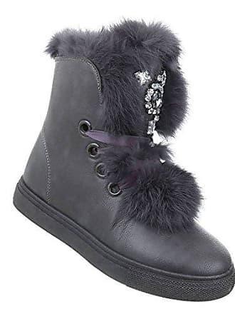 Boots 39 Langschaft Gefüttert Stiefeletten Sneaker Dick Schneestiefel Gefütterte Grau Damen Winterstiefel Warme Winter Kunst Fell Stiefel Schuhcity24 EvORqac