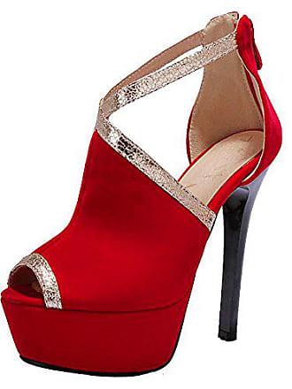 Asian High Schuhe Red 43 Hochzeitsschuhe Size Heel Damen Taoffen Party Sandalen Zipper gpqTp