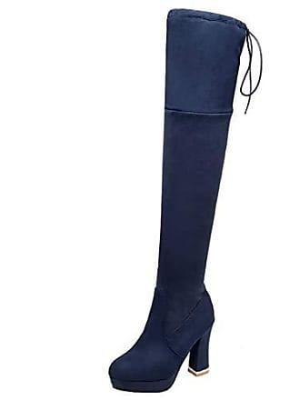 Langschaftstiefel Damen Stiefel Mit Schnürsenkel Schuhe Aiyoumei Warm Blockabsatz Geschlossen Overknee PkuOZXi