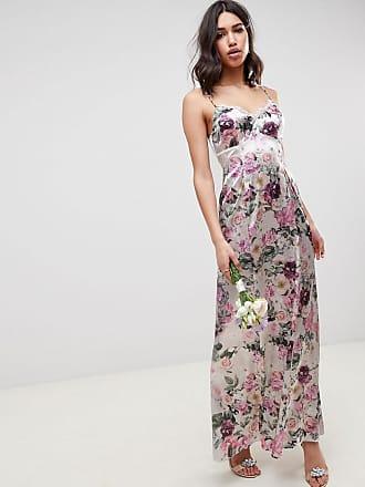 Floral De Vestido Aplicación Y Estampado Largo Encaje Con Asos Tirantes Design 6OnSqHx7