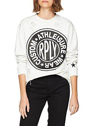 Replay large Longshirt Damen Sweatshirt 209X Weißblue Ice 0wN8ZnOPkX