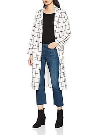 Duster Mujer Abrigo Grid Check Pattern New white Para Look Blanco Uwn1q1xZv