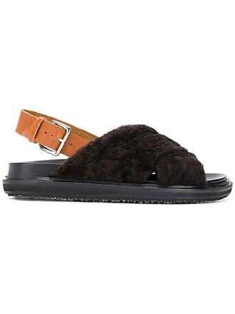 Marni Fur Fur Marron Flat Marni Sandal pqvnqTz