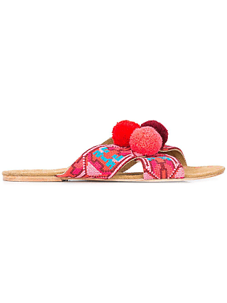 Pom Rouge Sandals Embroidered Pom Embroidered Embroidered Rouge Figue Figue Figue Sandals qBZf44