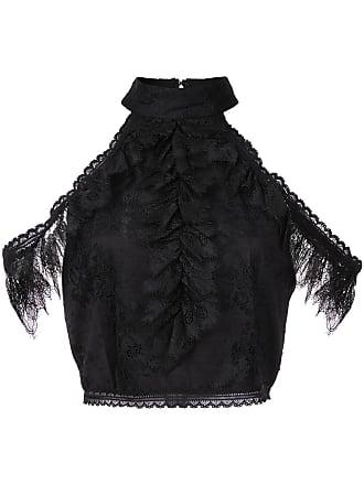 Top Cold Noir amp; shoulder Cropped Regina Olivia Lace Alice 0UWgxwSpqq