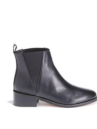 Bobbies Noir Lisse Boots Lentêtée À Talon Cuir En U1Uqzr