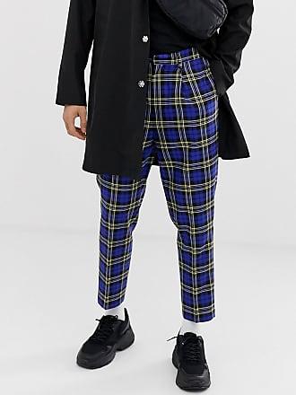 Carreaux Habillé Bleus Asos Court Bleu écossais Fuselé Pantalon tCvxqwIU