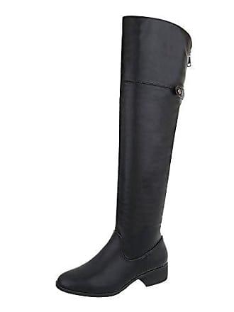 Blockabsatz 21 39 Gr design Reißverschluss Damen Ital Overknees Stiefel A Schwarz schuhe FInRPzxw