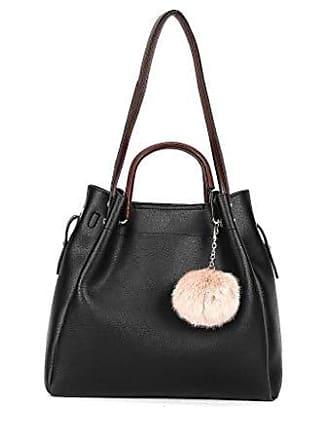 Noir Trend Handtaschen Modern Eimer Schule Bv18204 Bag Taschen Starre Damen Tote Shopper Elegante Schultertaschen Bommel Runde Tasche Geschenkidee Angkorly UWRx6qwR