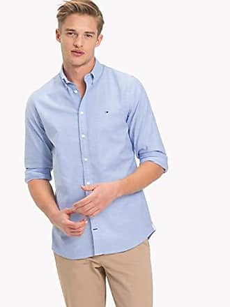 Hilfiger Para Stretch Azul 474 Camisa Shirt Oxford Tommy Blue Slim Core Hombre Large T4Rw6