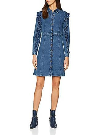 Lost Denim Para Vestido 0026 Frill With Ink Shirt Sleeve Blue Dress 40 Mujer rSnx5qRw8S
