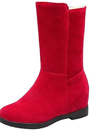 Mode Innere Zanpa 34 Gr Pull On Wildleder Warme Stiefeletten Keilabsatz Stiefel Synthetik Red Mit Slouch Winterschuhe ywnmvON80