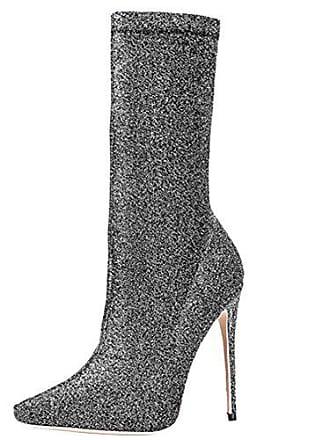 Absatz Heels High Zehen Stiefel Stiletto 12cm Damen Stretch Halb Elegant Und Mit Spitz Party Aiyoumei wZY1qx