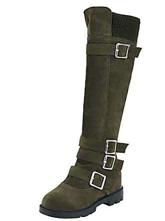 Grün Schnalle Stiefel 5 36 Flache Boots Eu Mit Damen Langschaftstiefel Langschaft Aiyoumei Winterstiefel wTYqz1YZ