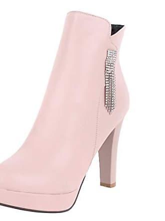 Kurzschaft High Mit Plateau Stiefel 41 Eu Absatz Strass Heels Boots Cm 10 Aiyoumei Damen Pink Ankle Stiefeletten q5tBcT