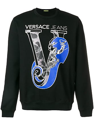 Neck Sweatshirt Logo Crew Couture Printed Noir Versace Jeans xwYC1qU
