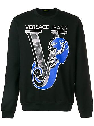 Crew Jeans Noir Printed Versace Logo Couture Neck Sweatshirt wIF8nxR