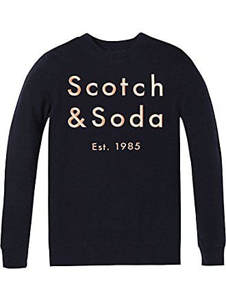 Logo Shirt Scotch Homme Artwork With Crewneck Soda Classic Chest Sweat Bleu Embroidered amp; vrfqvw0