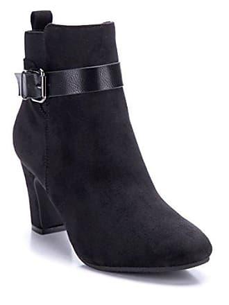 Stiefel Damen Cm Stiefeletten Klassische Boots Schwarz Blockabsatz Schuhe Schnalle Schuhtempel24 8 9eE2IHWDY
