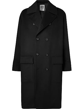 Double Wool blend Connolly And breasted Black Overcoat Cashmere UAq8d8W