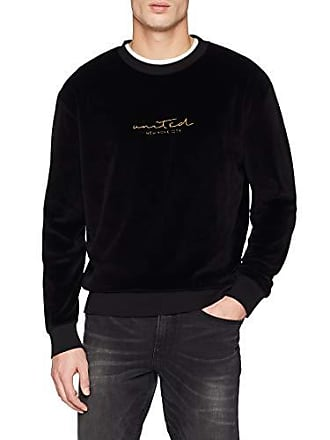 United New Velour Crew per 1 uomo Look Piccolo Nero nero Felpa OrrR5