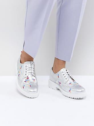 Brodé Chaussures Richelieu Cuir En Essentiel Argenté R84qIqd