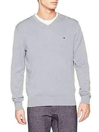 Homme Cotton Pull Mist Neck V Silk Heather harbor 049 Gris Hilfiger Tommy YwxRA