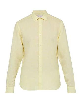 Linen Giles Orlebar Brown Yellow ShirtMens EH2ID9W