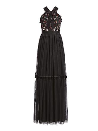 Aguja negro bordado vestido volantes Maxi con hilo e Bow floral Tie Esther rwxPrqAH