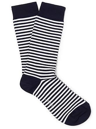 Stretch Striped Cotton White Socks blend Sunspel Y0AOqO
