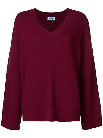 Rouge Prada Neck V Slouchy Sweater wxIXf