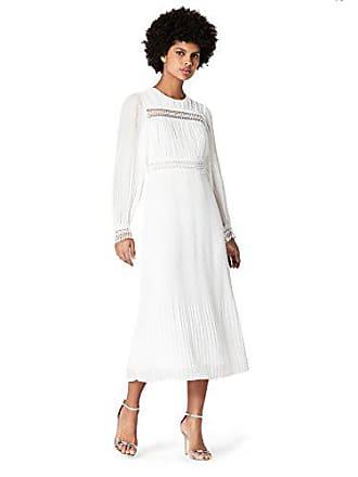 Midi Vestido White off Marfil Truth Fabricante Medium Del talla amp; White Mujer De Gasa Fable 40 Plisado Off H7S7qYz