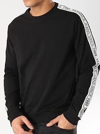 Logo Jeans 13850 Tape Noir Versace B7gtb7f9 Sweat Bandes Couture Crewneck Avec Blanc nYdT47qw