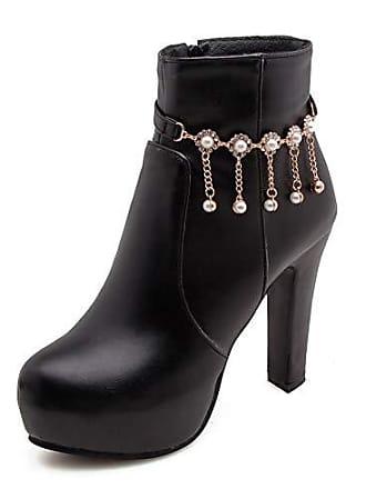 High Damen Knöchelhoch Stiefelette Perlen Platform Schwarz Eu Fransen 38 Aisun Trichterabsatz Blumen Heels Strass cl1TKJF