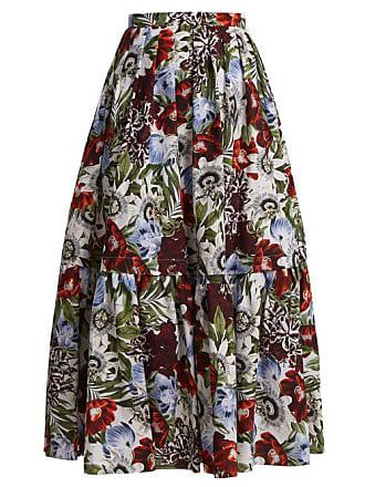 Erdem Imprimé Floral Coton Jupe En Leigh À vqrvPw