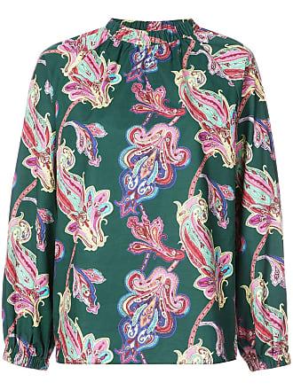 Shirred Vert Shirt Tibi Paisley Print Neck 0Uxw0ZE8q