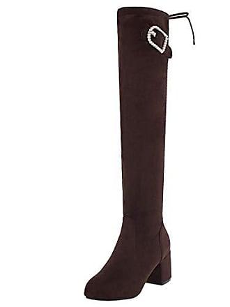 Over Stifel Stretch Brown Boots 39 Stiefel Winter Schuhe Asian Knee Damen Stiefeletten Elegant Lange Gr Taoffen Blockabsatz Herbst 1tqwXSxx