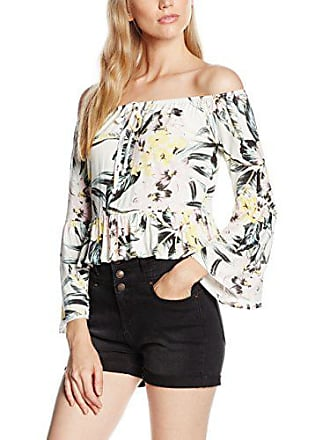 Fabricant 10 multi 38 Boohoo Débardeur Freya Printed Bardot Frill Multicolore Femme taille ggP7vx4w