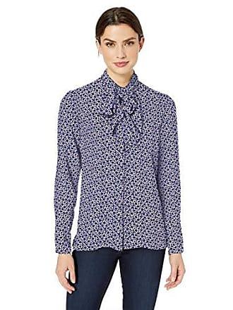 Tie Mini Long Mono 2 Floral Ro Blouse Lark Sleeve amp; Womens Blusa Neck 4BAA6q