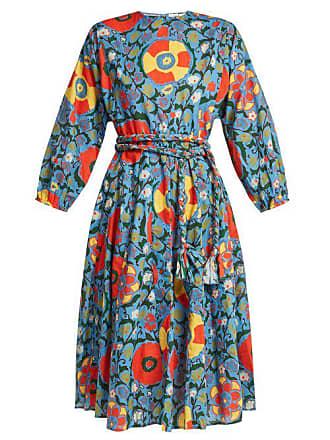 DressWomens Floral Rhode Resort Midi Blue Cotton Print ED29YWHI