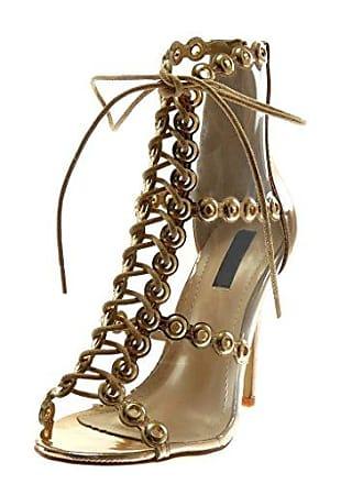 Damen Schuhe Sandalen Pumpe - Peep-Toe - Stiletto - Perforiert - Transparent - Spitze Stiletto High Heel 11.5 cm - Champagner B7767 T 38 Angkorly Y05gf9R0jV