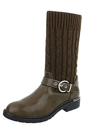 Western- & Bikerstiefel Damen-Schuhe Western- & Bikerstiefel Blockabsatz Blockabsatz Stiefel Olive, Gr 41, E4939 Ital-Design