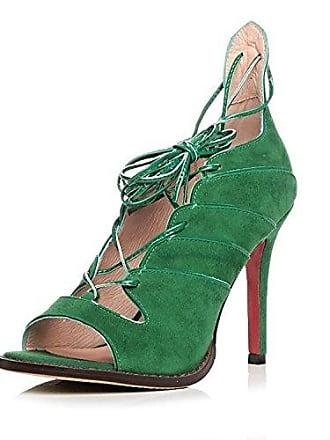 MEI&S Damen Sandalen Stiletto Heels Schuhe, Grün, 39 LSM-Sandalen