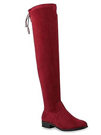 Damen Overknees Stiefel Basic Schnürung Wildleder-Optik Schuhe 145589 Dunkelrot Schleife 39 Flandell Stiefelparadies 34f9oCNg