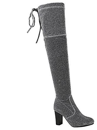 Damen Schuhe Overknees Glitzer Stiefel Elegante Langschaftstiefel 150390 Silber Glitzer 39 Flandell Stiefelparadies myGS4Mx