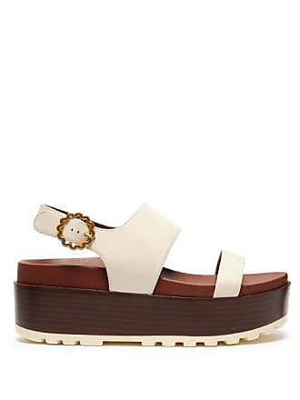 By Chloé Flatform See White Leather SandalsWomens XOPkTZiu