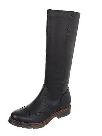 Klassische Blockabsatz schuhe Stiefel design SchwarzGr Reißverschluss Klassischer pg 366821 Ital Damen c54q3ALRj