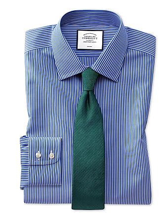 Tyrwhitt Und Slim Hemd Knopfmanschette Fit In Charles Mit Weiß Extra Bügelfreies Streifen Blau 7fyb6Yg