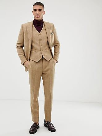 Asos 100 Camel Corte De Tweed Traje Slim Lana En Design Pantalones Harris xqTxrUw6